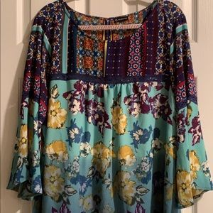 Tops - Turquoise, blue, and purple multi-print top